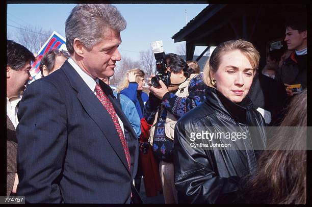 Hillary and Bill Clinton speak to reporters February 16 1992 in New Hampshire Mrs Clinton is campaigning for her husband to be the Democratic party's...