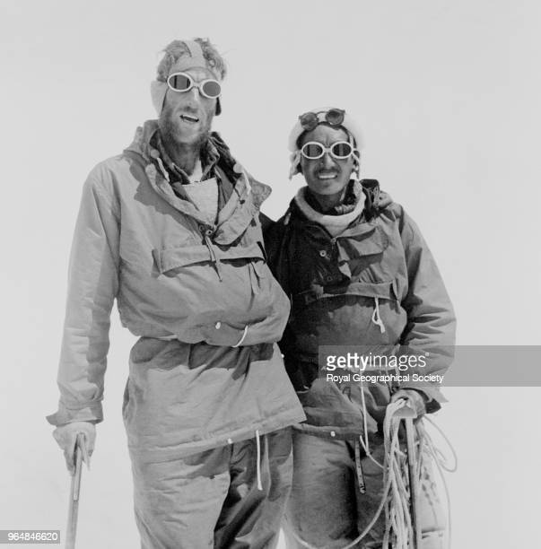 Hillary and Tenzing Norgay at Camp IV after their ascent of Everest Nepal 29th May 1953 Mount Everest Expedition 1953