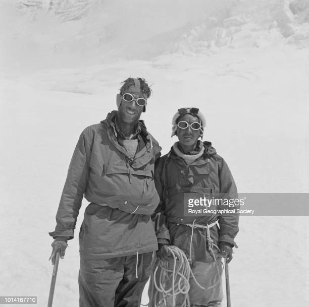 Hillary and Tenzing Norgay back at Camp IV after their ascent of Everest Nepal 29 May 1953 Mount Everest Expedition 1953