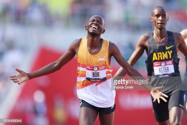 Hillary Bor and Benard Keter cross the finishline in the Men's 3000 Meters Steeplechase Final during day eight of the 2020 U.S. Olympic Track & Field...