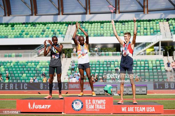 Hillary Bor , first, Benard Keter , second and Mason Ferlic, third, celebrate on the podium after the Men's 3000 Meters Steeplechase Final during day...