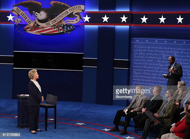 Hillary Clinton 2016 Democratic presidential nominee listens to a question during the second US presidential debate at Washington University in St...