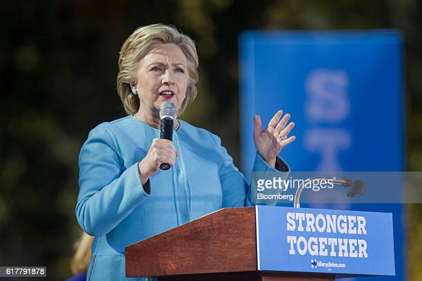 Hillary Clinton 2016 Democratic presidential nominee speaks during a campaign event in Manchester New Hampshire US on Monday Oct 24 2016 Clinton made...