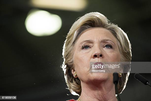 Hillary Clinton 2016 Democratic presidential nominee speaks during a campaign event in Cleveland Ohio US on Monday Oct 31 2016 As Clinton's allies...