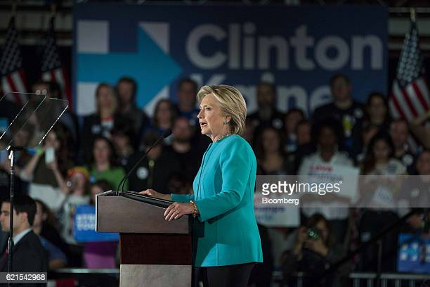 Hillary Clinton 2016 Democratic presidential nominee speaks during a campaign rally in Manchester New Hampshire US on Sunday Nov 6 2016 Clinton's...