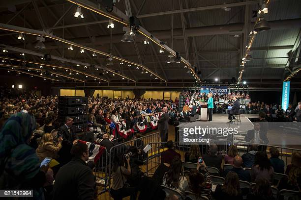 Hillary Clinton 2016 Democratic presidential nominee speaks on stage during a campaign rally in Manchester New Hampshire US on Sunday Nov 6 2016...