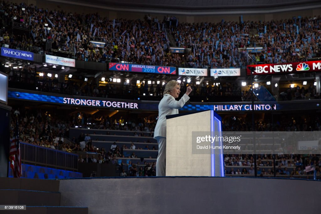 Clinton Accepts DNC Nomination : News Photo