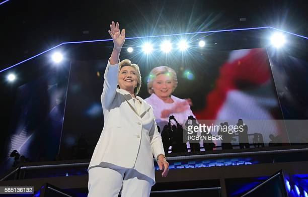 Hillary Clinton accepts the nomination on the final night of the Democratic National Convention at the Wells Fargo Center July 28 2016 in...