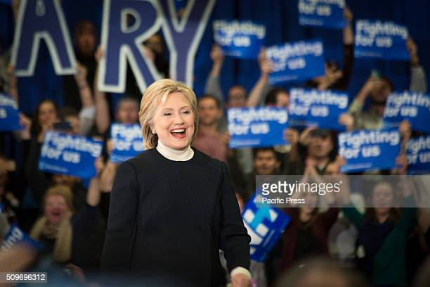 Hillary Clinton addresses supporters after placing second in the 2016 New Hampshire Democratic primary