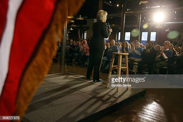 Hillary Clinton addresses the crowd during a Women for Hillary event at the Rivermill at Dover Landing in Dover NH Feb 3 2016