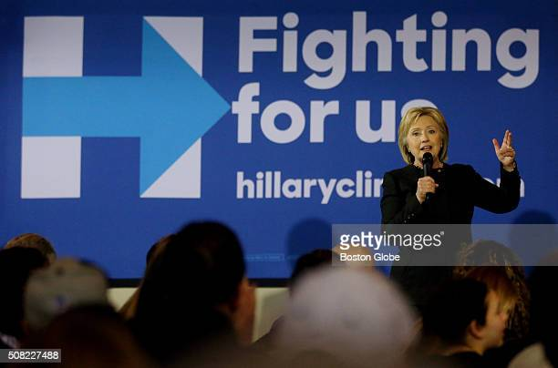 Hillary Clinton addresses the during a Women for Hillary event at the Rivermill at Dover Landing in Dover NH Feb 3 2016