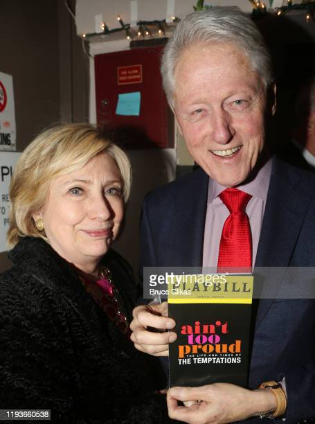 """Hillary Clinton and 42nd President of the United States Bill Clinton pose backstage at the musical """"Ain't Too Proud: The Temptations Musical"""" on..."""