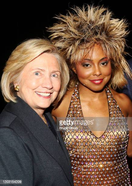"""Hillary Clinton and Adrienne Warren as """"Tina Turner"""" pose backstage at the hit musical """"TINA – The Tina Turner Musical"""" on Broadway at The Lunt..."""