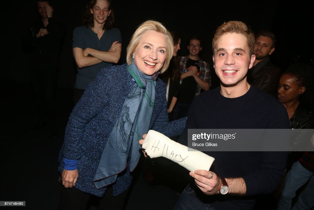Hillary Clinton met the players as she went backstage on Broadway to pose with 'Dear Evan Hansen' star Ben Platt at The Music Box Theatre.