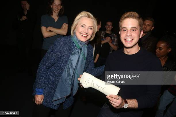 Hillary Clinton and Ben Platt pose at the hit musical Dear Evan Hansen on Broadway at The Music Box Theatre on November 15 2017 in New York City