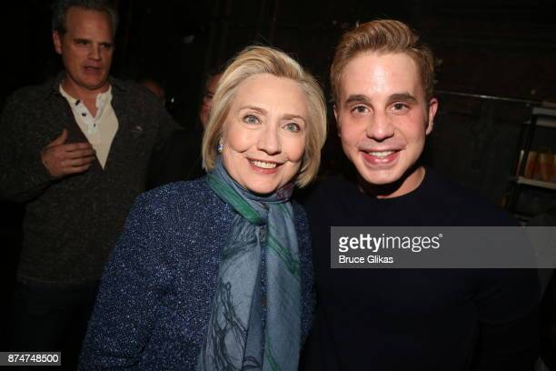 """Hillary Clinton and Ben Platt pose at the hit musical """"Dear Evan Hansen"""" on Broadway at The Music Box Theatre on November 15, 2017 in New York City."""