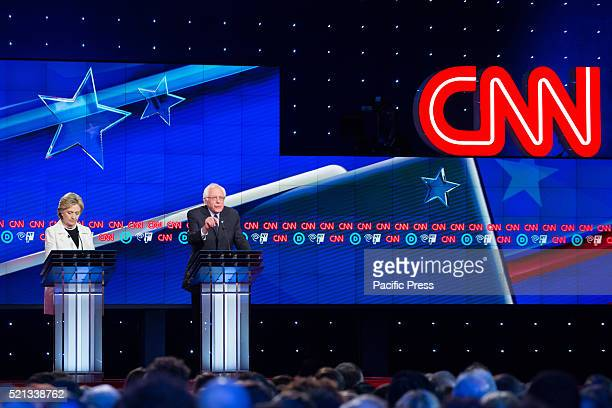Hillary Clinton and Bernie Sanders at CNN during the democratic presidential debate