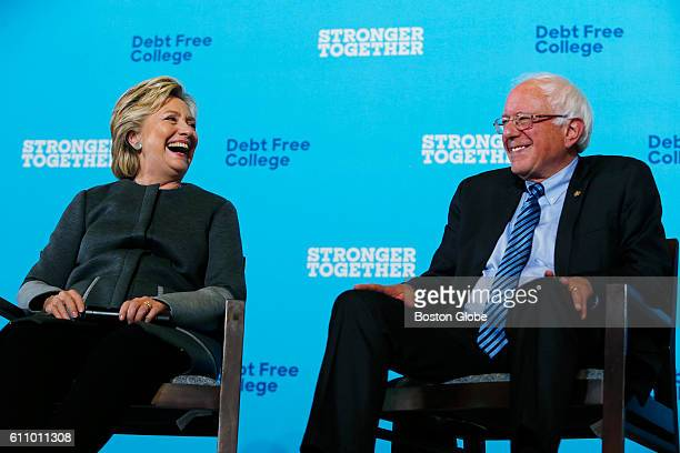 Hillary Clinton and Bernie Sanders campaign together at the University of New Hampshire in Durham NH on Sept 28 2016