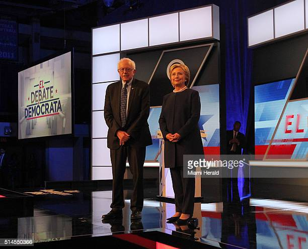 Hillary Clinton and Bernie Sanders face off in a debate moderated by Univision and the Washington Post at MiamiDade College Kendall Campus on...