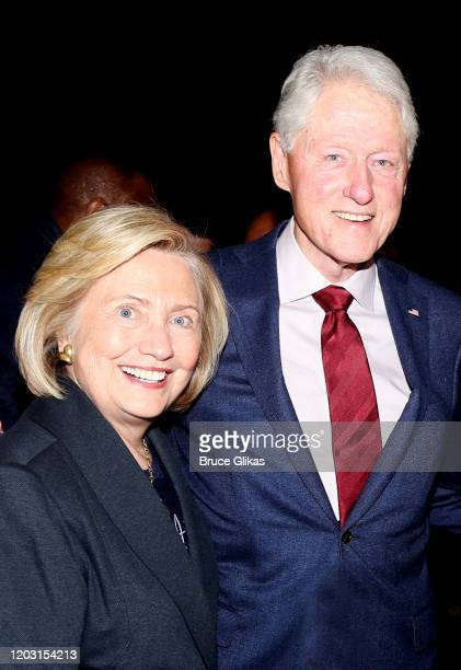 """Hillary Clinton and Bill Clinton pose backstage at the hit musical """"TINA – The Tina Turner Musical"""" on Broadway at The Lunt Fontanne Theatre on..."""