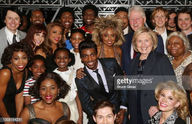 """Hillary Clinton and Bill Clinton pose with Adrienne Warren as """"Tina Turner"""" and the cast backstage at the hit musical """"TINA – The Tina Turner..."""