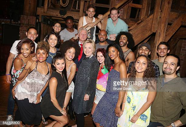 Hillary Clinton and Bill Clinton pose with the Hamilton cast backstage at the hit musical Hamilton on Broadway at The Richard Rogers Theatre on July...