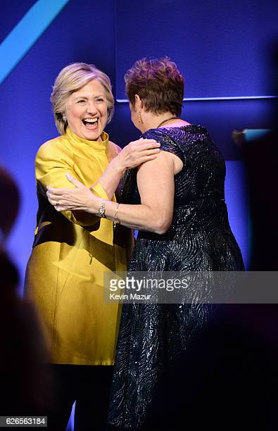 Hillary Clinton and Caryl Stern attend the 12th annual UNICEF Snowflake Ball at Cipriani Wall Street on November 29 2016 in New York City