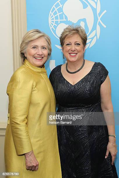 Hillary Clinton and Caryl Stern pose backstage at the 12th annual UNICEF Snowflake Ball at Cipriani Wall Street on November 29 2016 in New York City