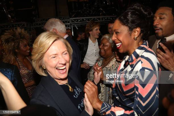 """Hillary Clinton and Dawnn Lewis as """"Zelma Bullock"""" chat backstage at the hit musical """"TINA – The Tina Turner Musical"""" on Broadway at The Lunt..."""