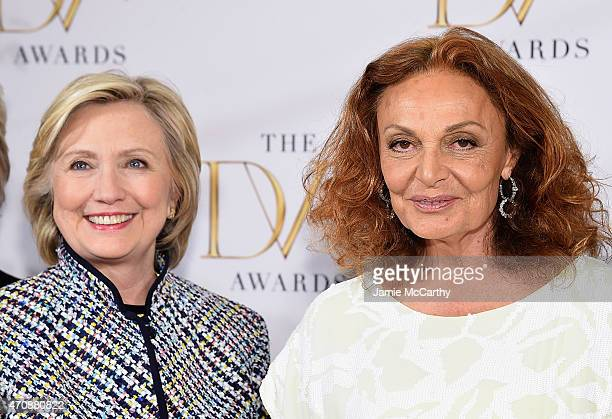 Hillary Clinton and Diane Von Furstenberg attend the 2015 DVF Awards at United Nations on April 23 2015 in New York City