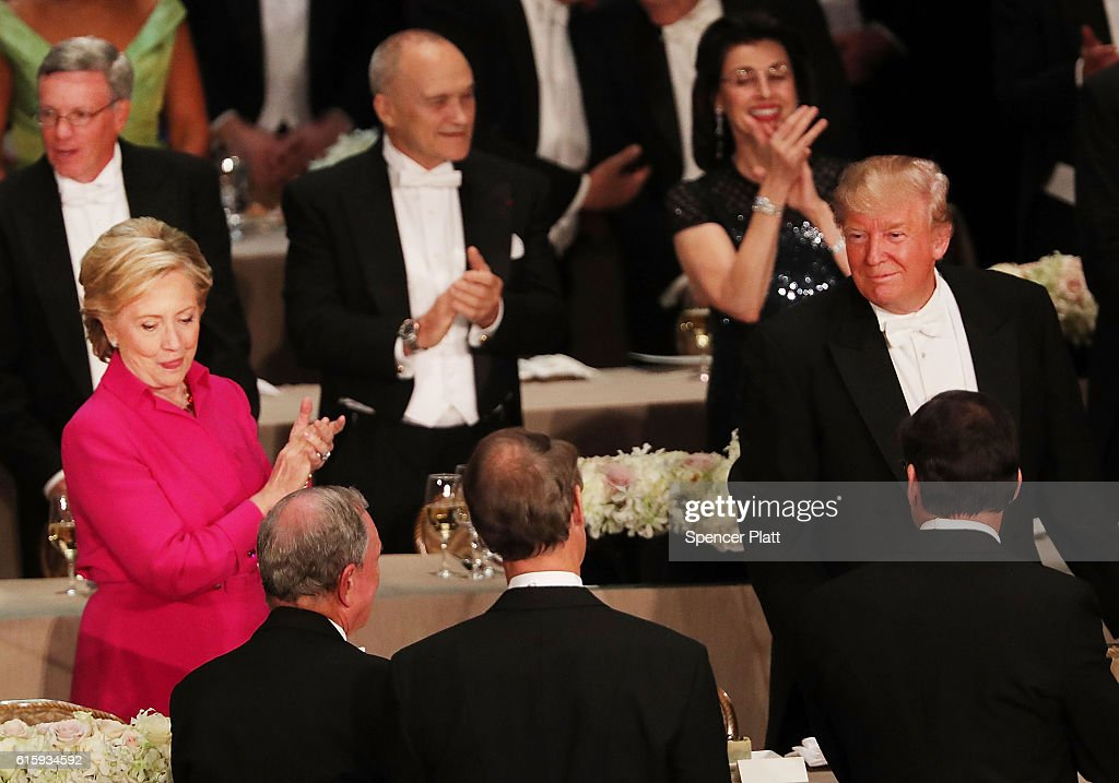 Donald Trump And Hillary Clinton Attend Alfred E. Smith Memorial Foundation Dinner : News Photo