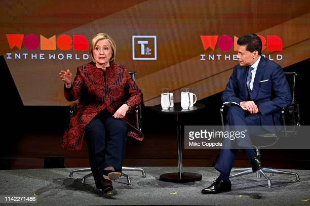 Hillary Clinton and Fareed Zakaria speak during the 10th Anniversary Women In The World Summit at David H Koch Theater at Lincoln Center on April 12...