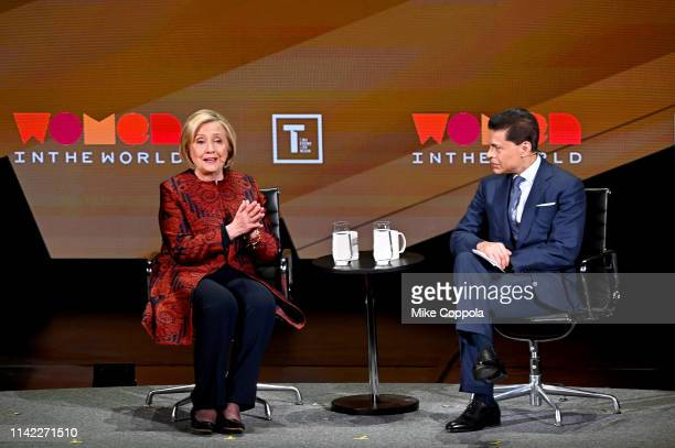 Hillary Clinton and Fareed Zakaria speak during the 10th Anniversary Women In The World Summit at David H. Koch Theater at Lincoln Center on April...