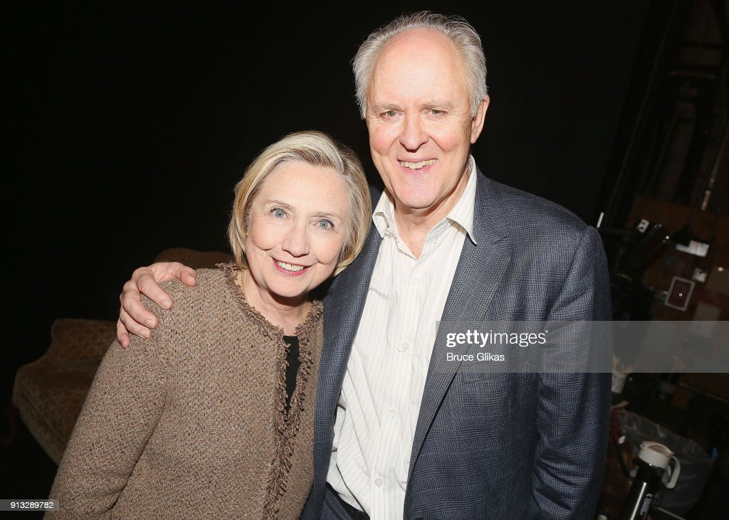 Hillary Clinton and John Lithgow pose backstage at the Roundabout Theatre Company's hit production of 'John Lithgow: Stories By Heart' on Broadway at The American Airlines Theatre on February 1, 2018 in New York City.