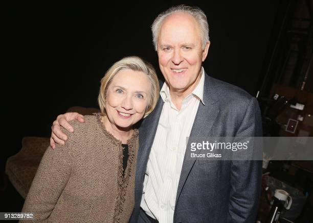 Hillary Clinton and John Lithgow pose backstage at the Roundabout Theatre Company's hit production of 'John Lithgow Stories By Heart' on Broadway at...