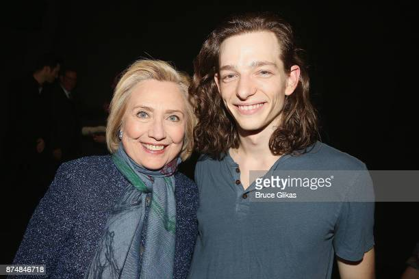 Hillary Clinton and Mike Faist pose backstage at the hit musical 'Dear Evan Hansen' on Broadway at The Music Box Theatre on November 15 2017 in New...