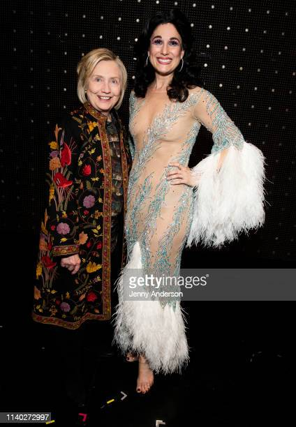 """Hillary Clinton and Stephanie J. Block are seen backstage at """"The Cher Show"""" on Broadway at the Neil Simon Theatre on April 3, 2019 in New York City."""