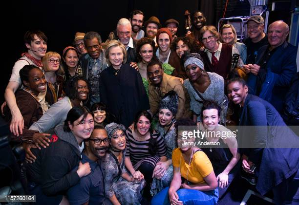 """Hillary Clinton and the cast of """"Hadestown"""" backstage at the Walter Kerr Theatre on June 20, 2019 in New York City."""