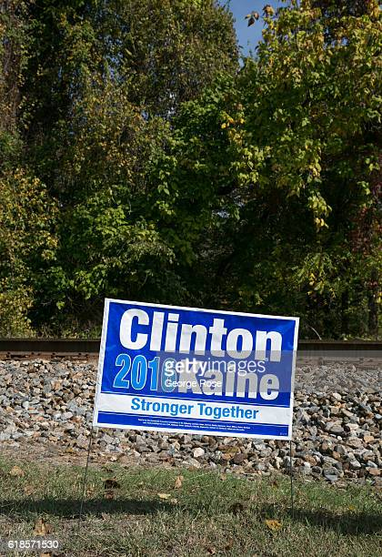 Hillary Clinton and Tim Kaine lawn sign appears across the street from an early polling place located adjacent to the Appalachian Trail as viewed on...