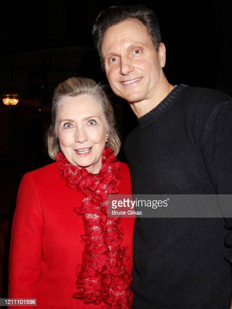 """Hillary Clinton and Tony Goldwyn pose backstage at the play """"The Inheritance"""" on Broadway at The Barrymore Theatre on March 7, 2020 in New York City."""