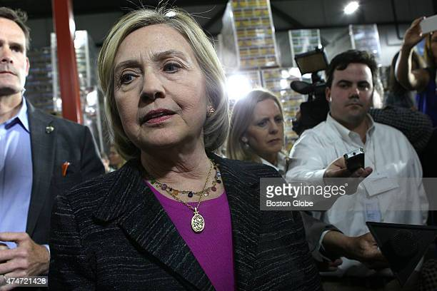 Hillary Clinton answers questions from the press about the Bengazi emails after a discussion with members of the local small community at Smuttynose...