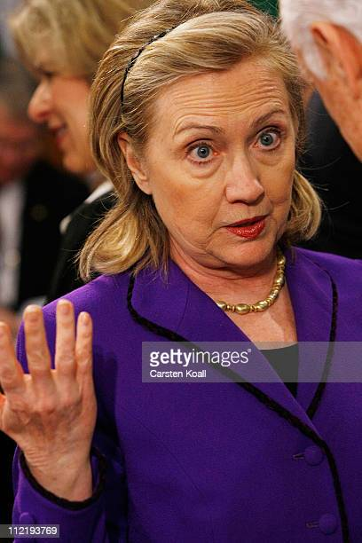Hillary Clinton arrives at an informal meeting of NATO member foreign ministers on April 14 2011 in Berlin Germany The principal focus of the twoday...