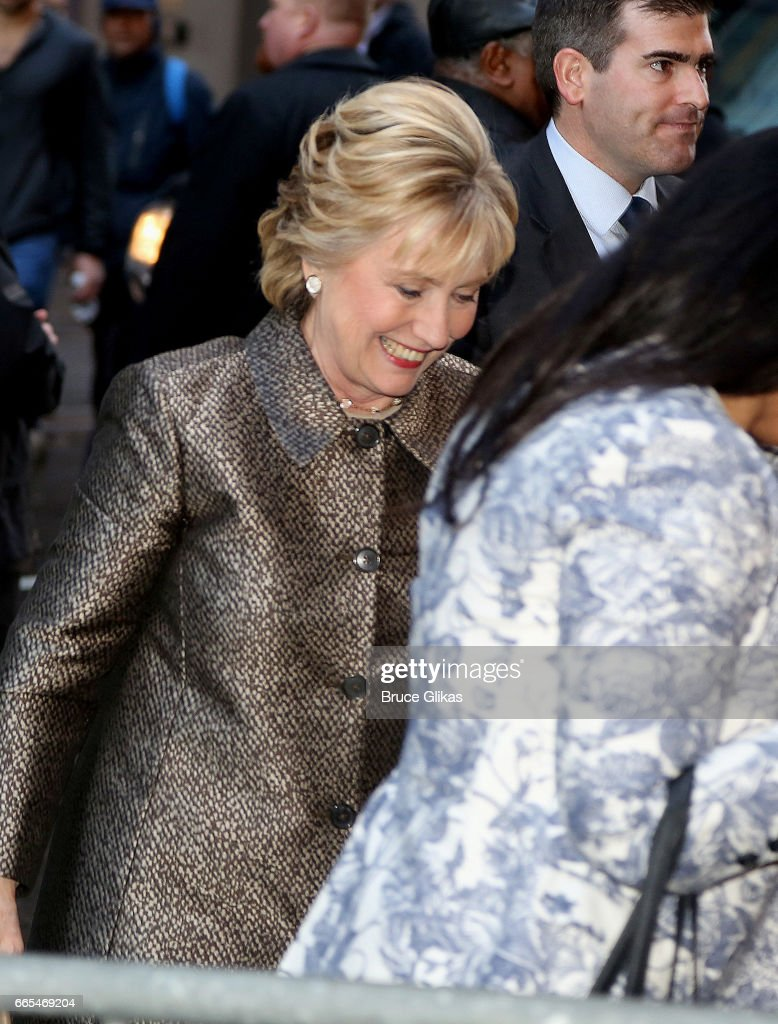 Hillary Clinton arrives at the opening night of the new musical 'War Paint' on Broadway at The Nederlander Theatre on April 6, 2017 in New York City.