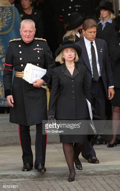 Hillary Clinton Attending The Funeral Of Diana Princess Of Wales At Westminster Abbey London