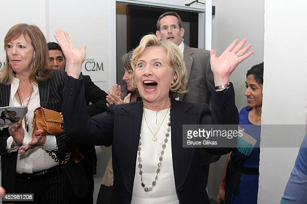 Hillary Clinton backstage at the hit musical 'Beautiful' on Broadway at The Stephen Sondheim Theater on July 30 2014 in New York City