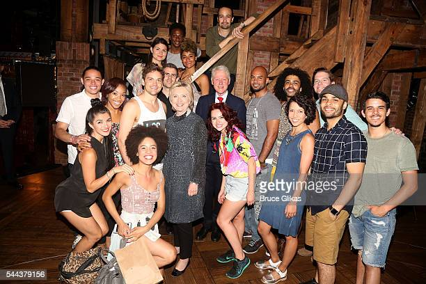 "Hillary Clinton, Bill Clinton and Lin Lanuel Miranda pose backstage with the cast at the hit musical ""Hamilton"" on Broadway at The Richard Rogers..."