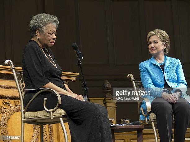 Hillary Clinton Campaign -- Pictured: Senator Hillary Clinton at a conversation hosted by Dr. Maya Angelou at Wake Forest University during her...