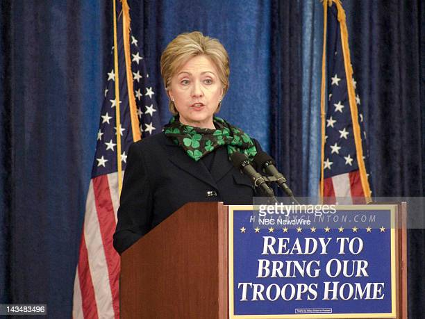 NBC NEWS Hillary Clinton Campaign Pictured Senator Hillary Clinton gives a speech on the war in Iraq at George Washington University during her...