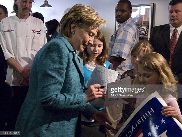 NBC NEWS Hillary Clinton Campaign Pictured Senator Hillary Clinton greets supporters during her campaign for the Democratic nomination at the Hot...