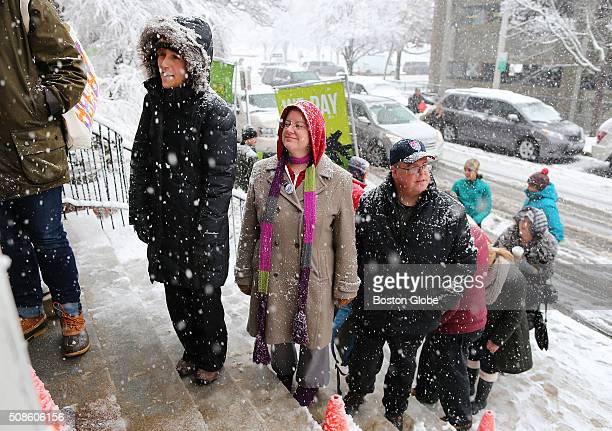 Hillary Clinton campaigned at the Manchester Canvass KickOff with Women Leaders at the YMCA in Manchester NH Feb 5 2016 A crowd waited in the snow to...